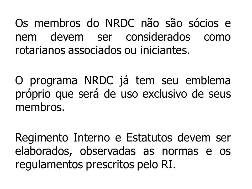 Os membros do NRDC não são sócios e nem devem ser considerados como rotarianos associados ou iniciantes.