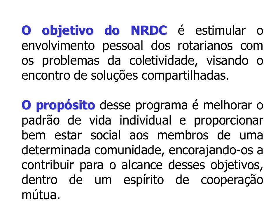 O objetivo do NRDC é estimular o envolvimento pessoal dos rotarianos com os problemas da coletividade, visando o encontro de soluções compartilhadas.