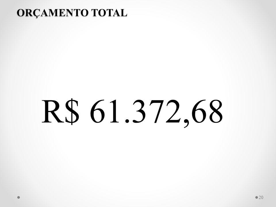 ORÇAMENTO TOTAL R$ 61.372,68