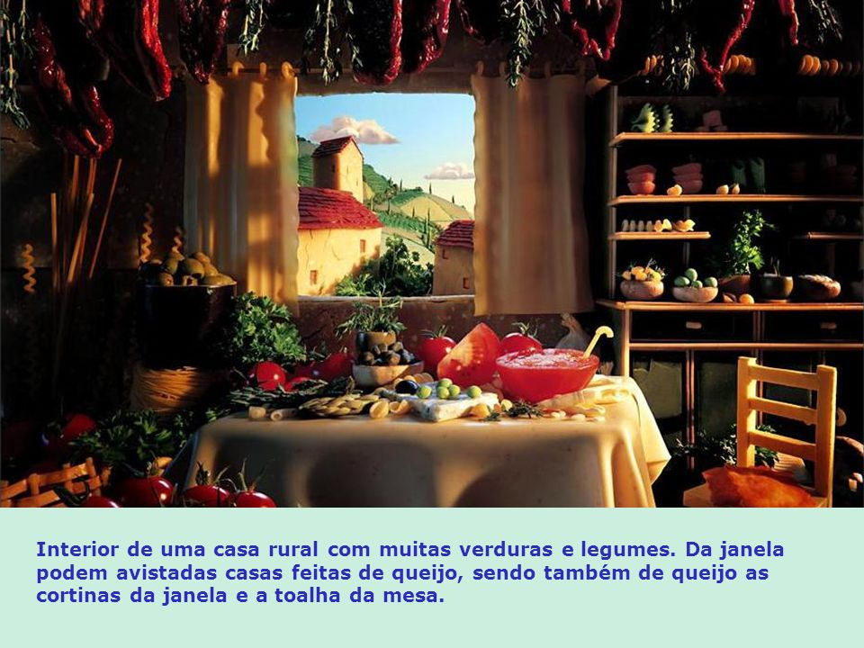 Interior de uma casa rural com muitas verduras e legumes
