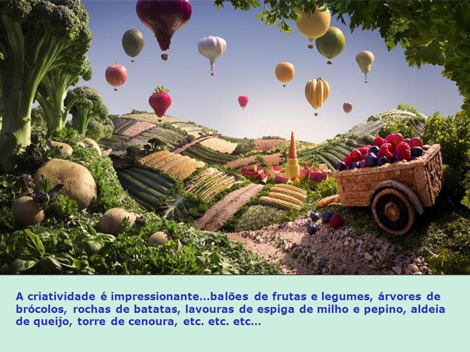 A criatividade é impressionante…balões de frutas e legumes, árvores de brócolos, rochas de batatas, lavouras de espiga de milho e pepino, aldeia de queijo, torre de cenoura, etc.