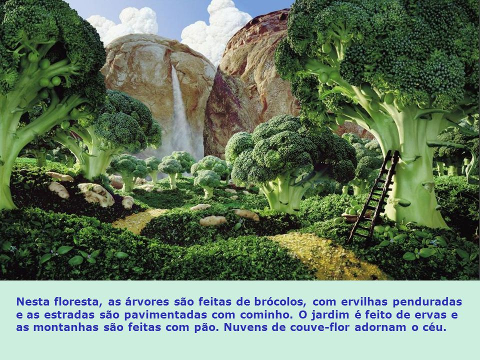 Nesta floresta, as árvores são feitas de brócolos, com ervilhas penduradas e as estradas são pavimentadas com cominho.