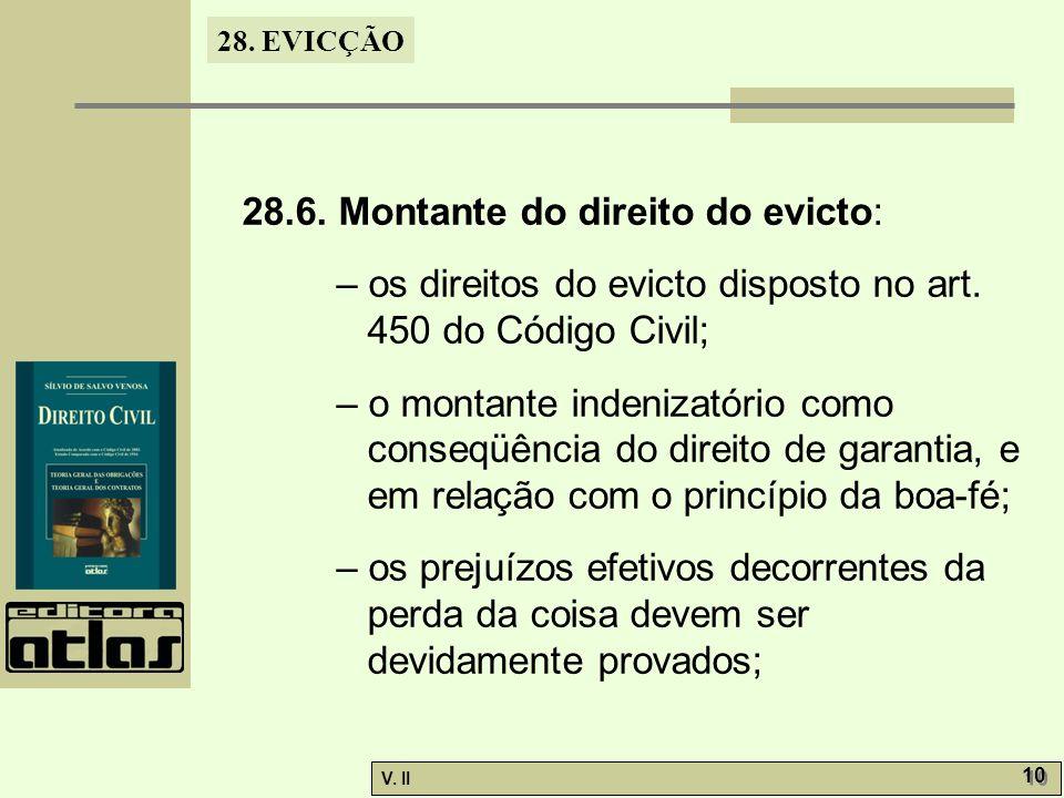 28.6. Montante do direito do evicto: