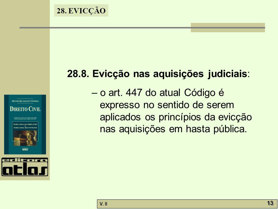 28.8. Evicção nas aquisições judiciais: