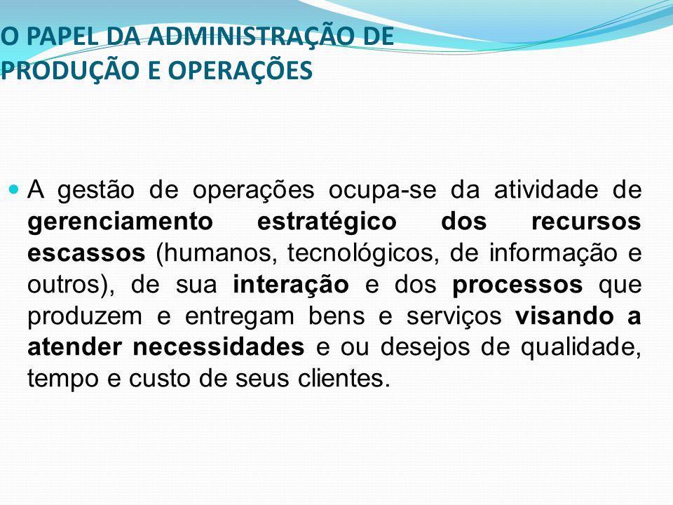 O PAPEL DA ADMINISTRAÇÃO DE PRODUÇÃO E OPERAÇÕES