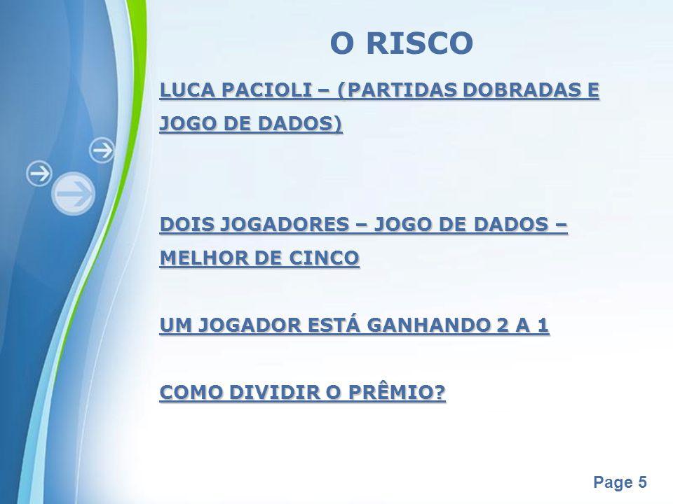 O RISCO LUCA PACIOLI – (PARTIDAS DOBRADAS E JOGO DE DADOS)
