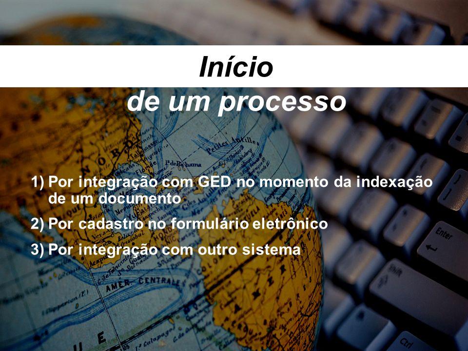 Início de um processo Por integração com GED no momento da indexação de um documento. Por cadastro no formulário eletrônico.