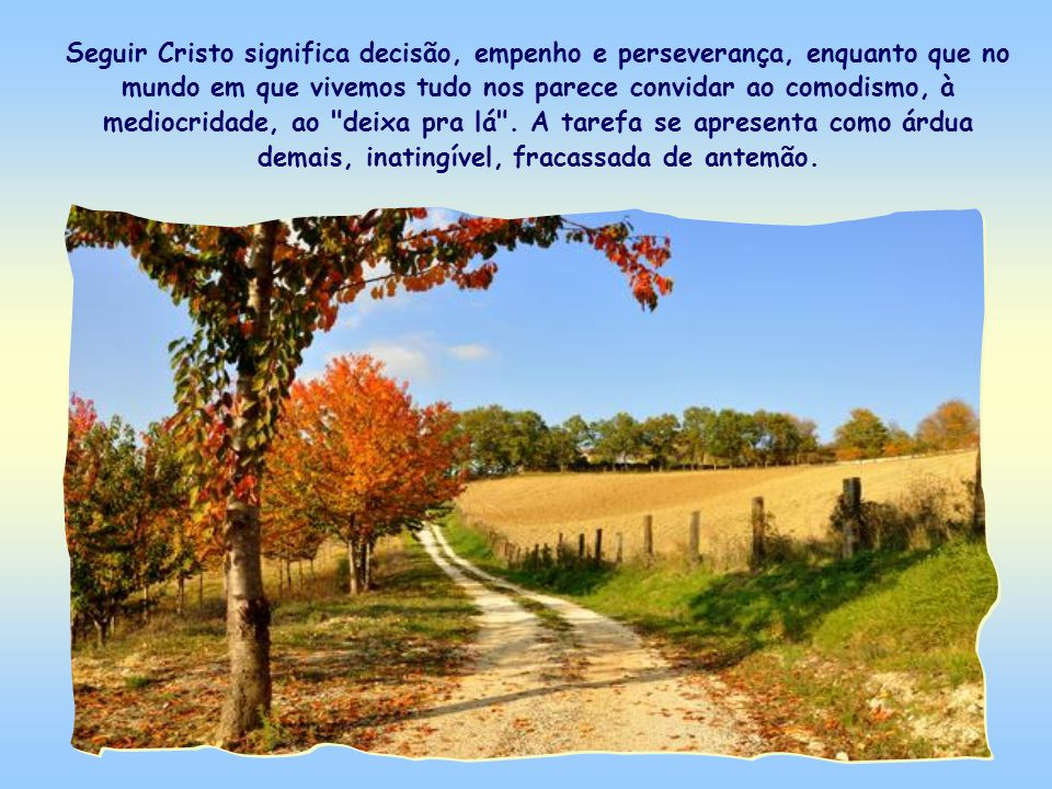 Seguir Cristo significa decisão, empenho e perseverança, enquanto que no mundo em que vivemos tudo nos parece convidar ao comodismo, à mediocridade, ao deixa pra lá .