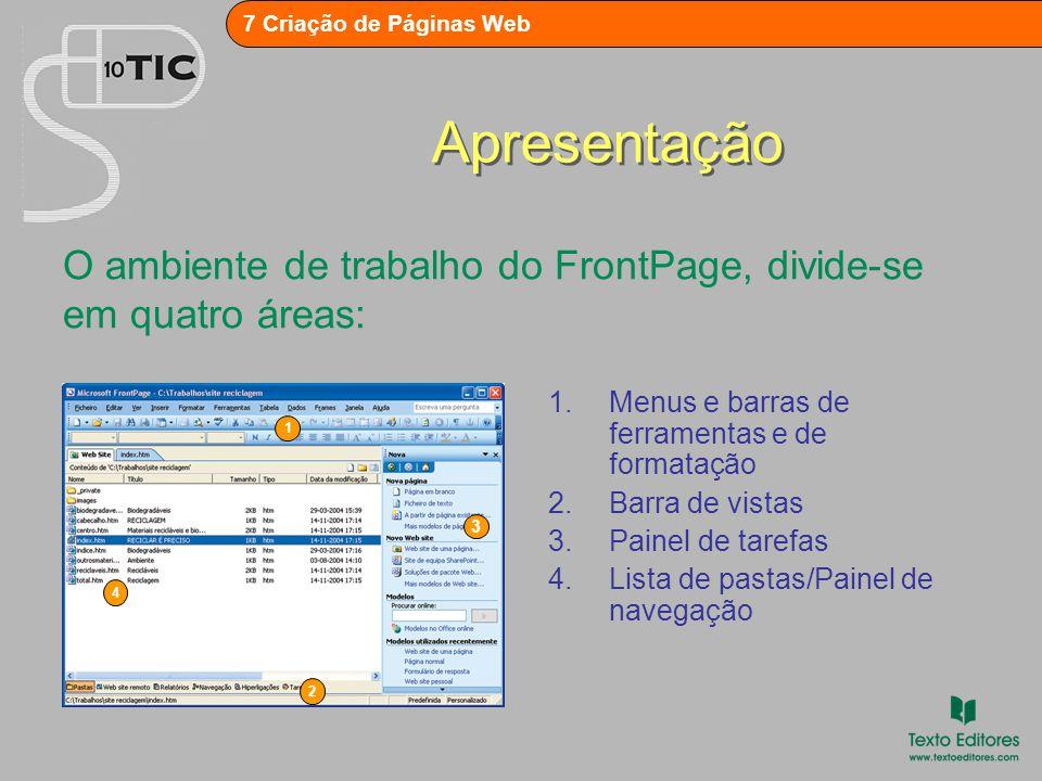 Apresentação O ambiente de trabalho do FrontPage, divide-se em quatro áreas: Menus e barras de ferramentas e de formatação.
