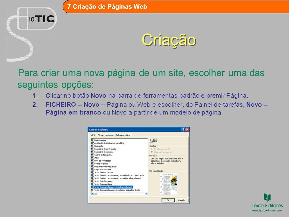 Criação Para criar uma nova página de um site, escolher uma das seguintes opções: