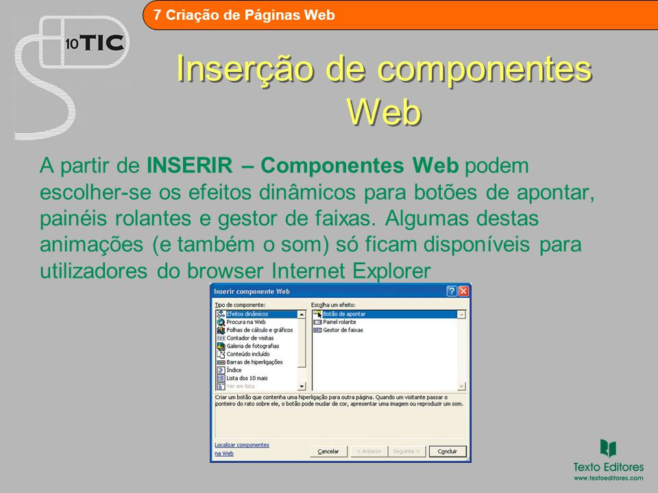 Inserção de componentes Web