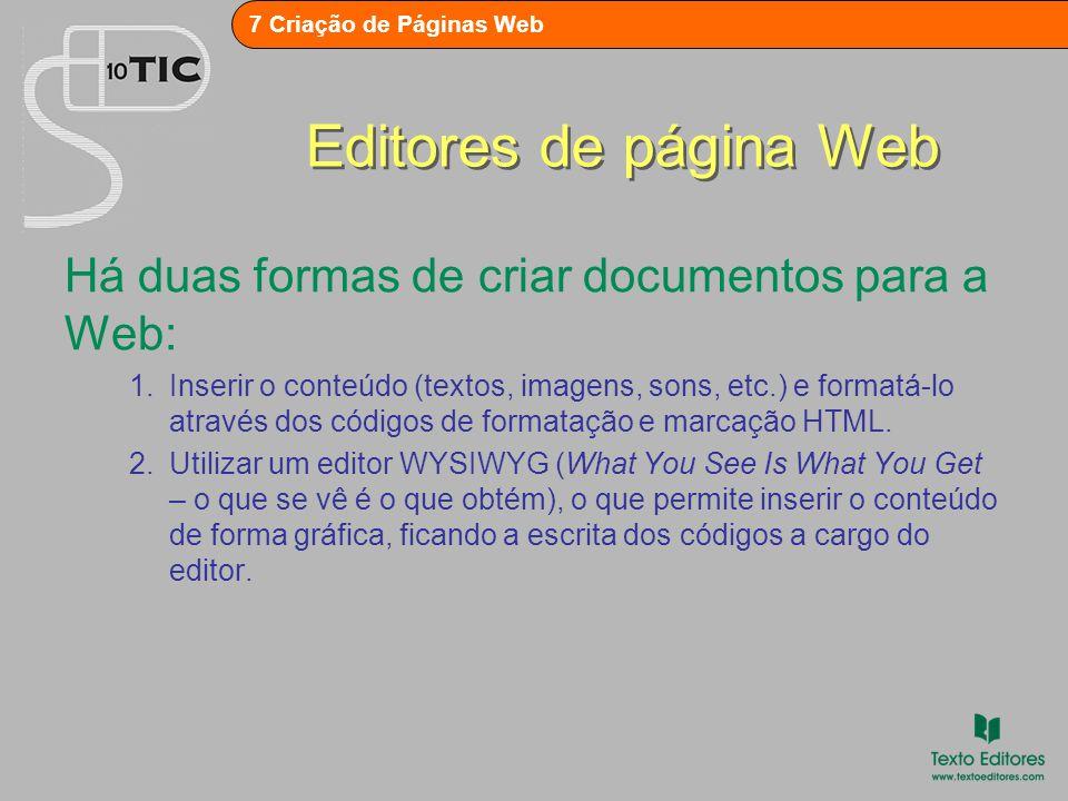 Editores de página Web Há duas formas de criar documentos para a Web: