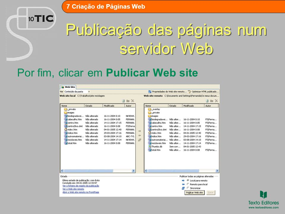 Publicação das páginas num servidor Web