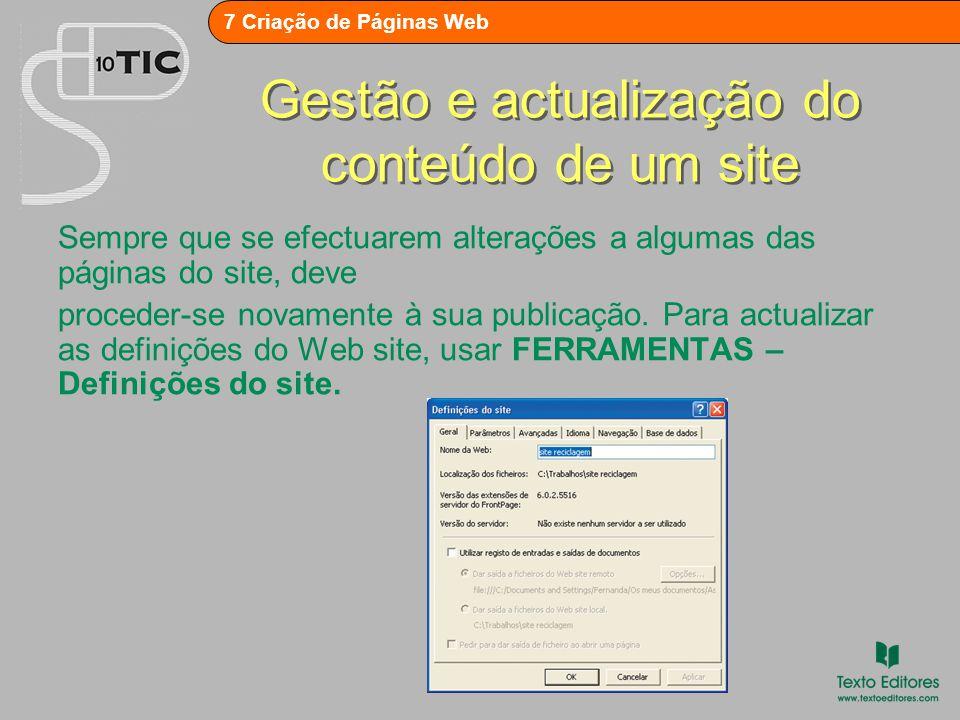 Gestão e actualização do conteúdo de um site