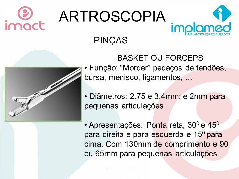 ARTROSCOPIA PINÇAS BASKET OU FORCEPS