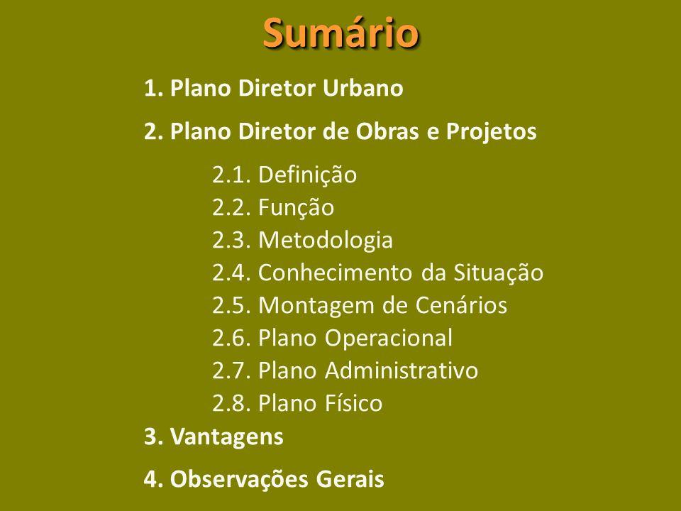Sumário 1. Plano Diretor Urbano 2. Plano Diretor de Obras e Projetos