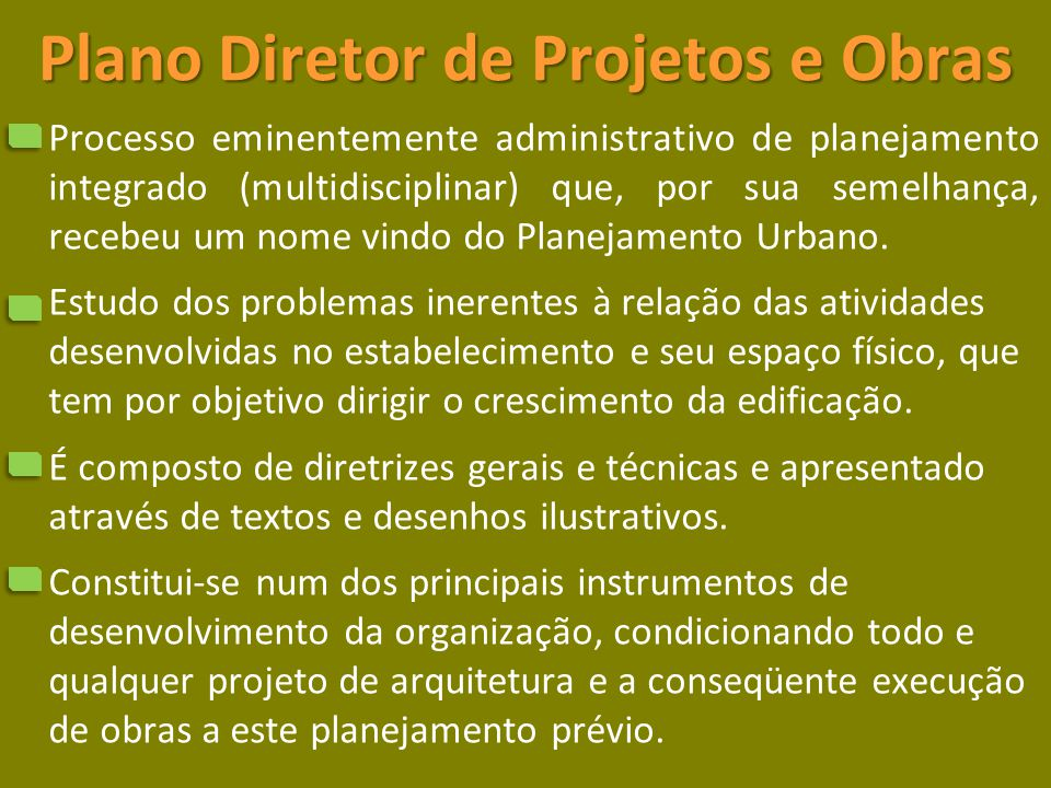 Plano Diretor de Projetos e Obras