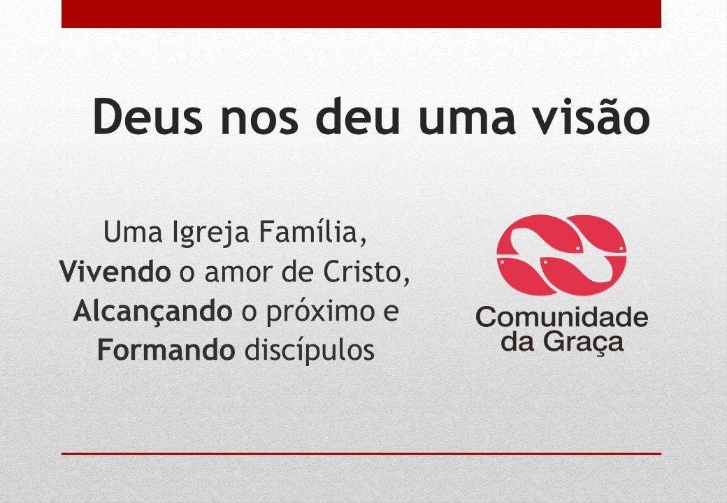 Deus nos deu uma visão Uma Igreja Família, Vivendo o amor de Cristo, Alcançando o próximo e Formando discípulos