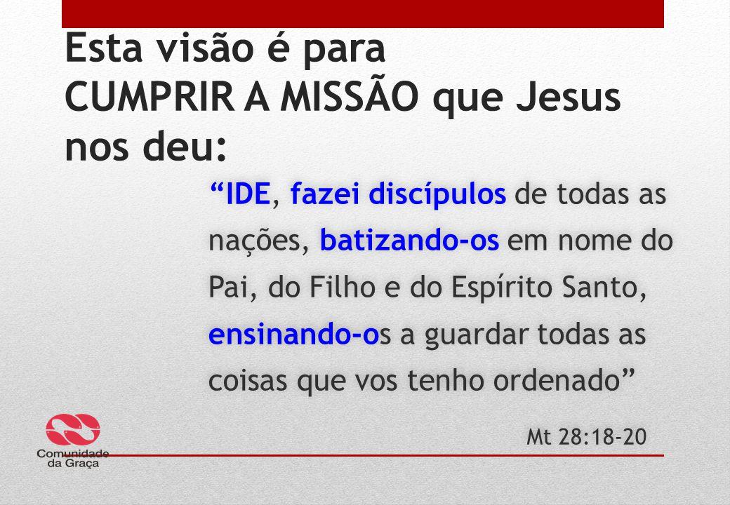 Esta visão é para CUMPRIR A MISSÃO que Jesus nos deu: