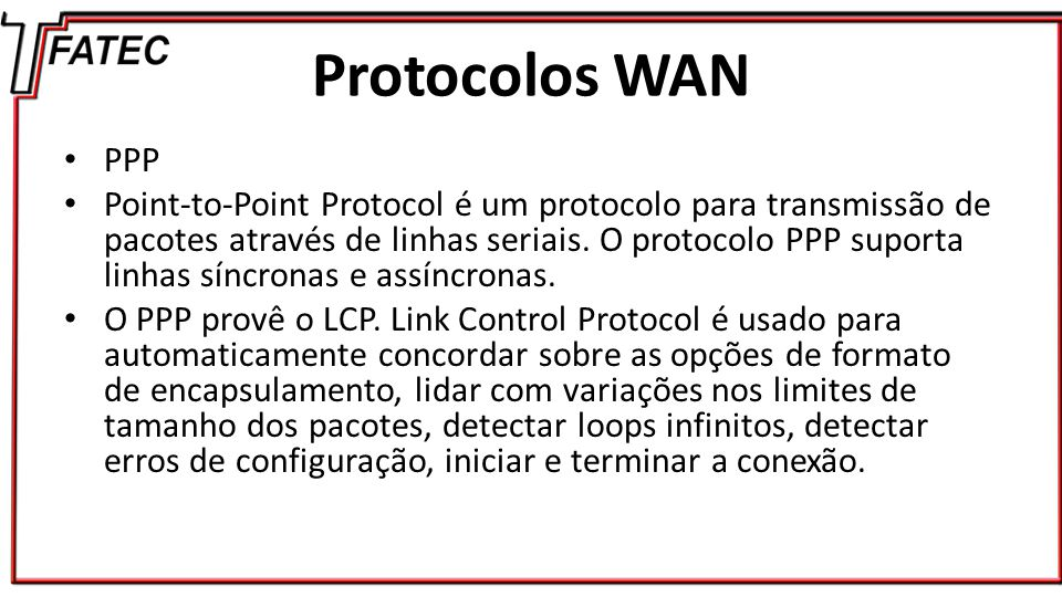 Protocolos WAN PPP.