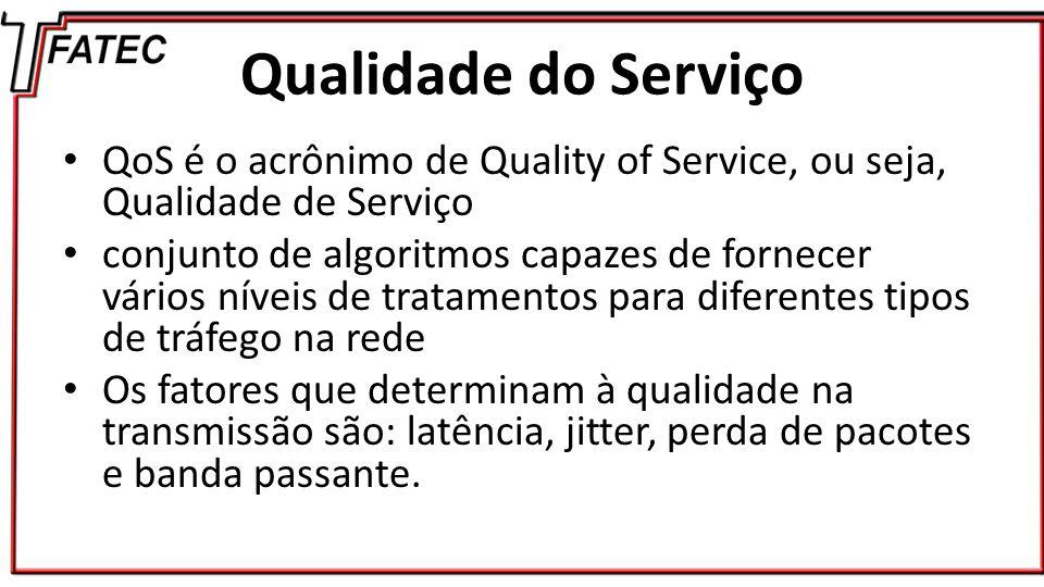 Qualidade do Serviço QoS é o acrônimo de Quality of Service, ou seja, Qualidade de Serviço.