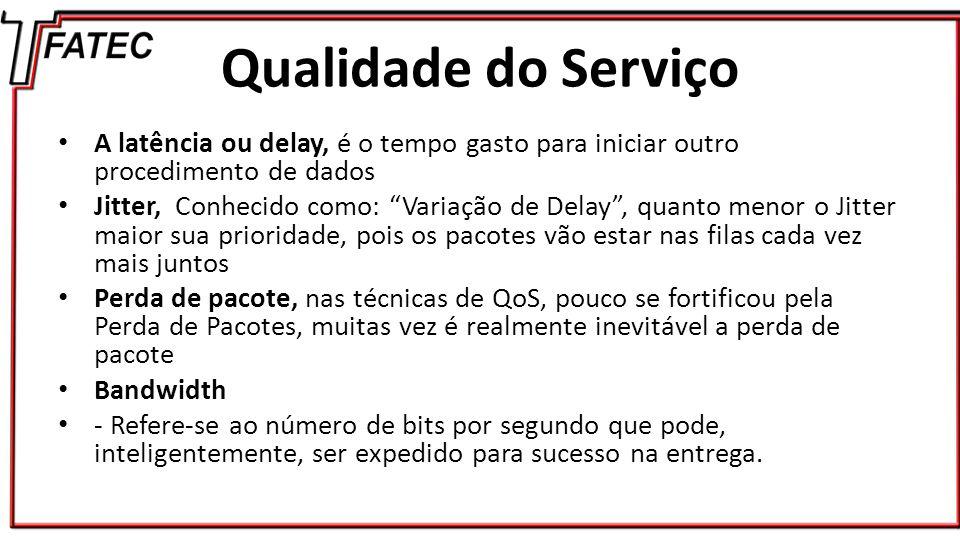 Qualidade do Serviço A latência ou delay, é o tempo gasto para iniciar outro procedimento de dados.