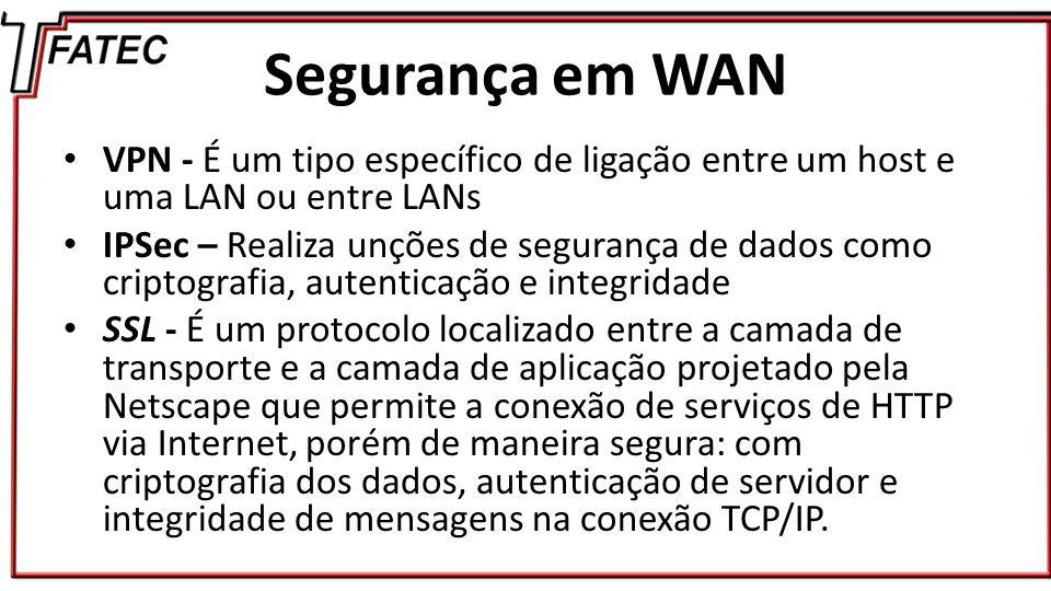 Segurança em WAN VPN - É um tipo específico de ligação entre um host e uma LAN ou entre LANs.