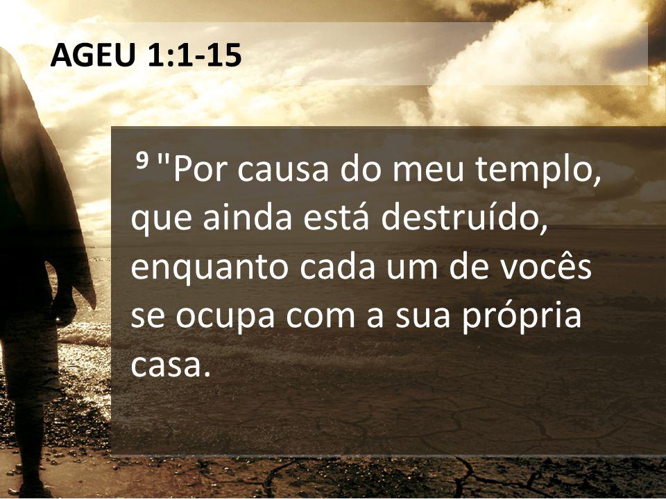 AGEU 1:1-15 9 Por causa do meu templo, que ainda está destruído, enquanto cada um de vocês se ocupa com a sua própria casa.