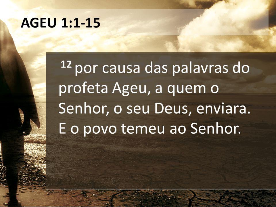 AGEU 1:1-15 12 por causa das palavras do profeta Ageu, a quem o Senhor, o seu Deus, enviara.