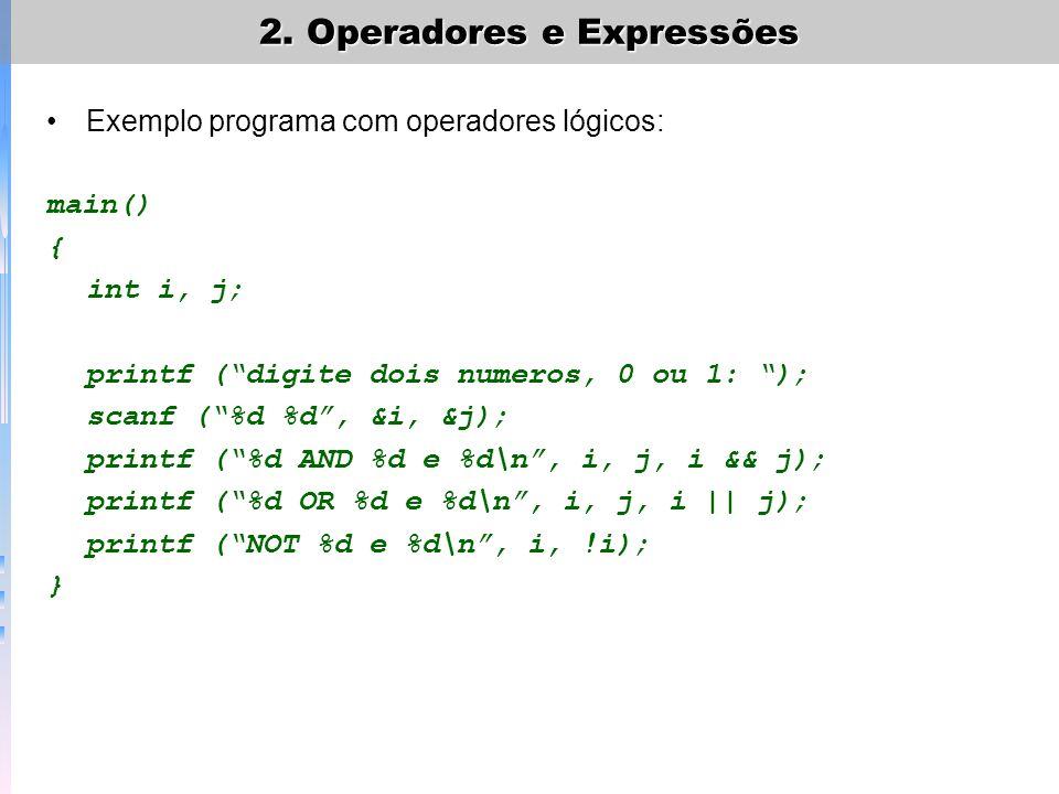 2. Operadores e Expressões
