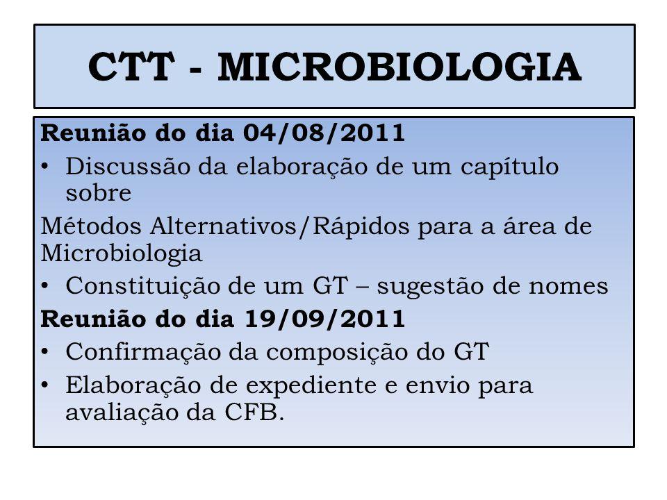 CTT - MICROBIOLOGIA Reunião do dia 04/08/2011