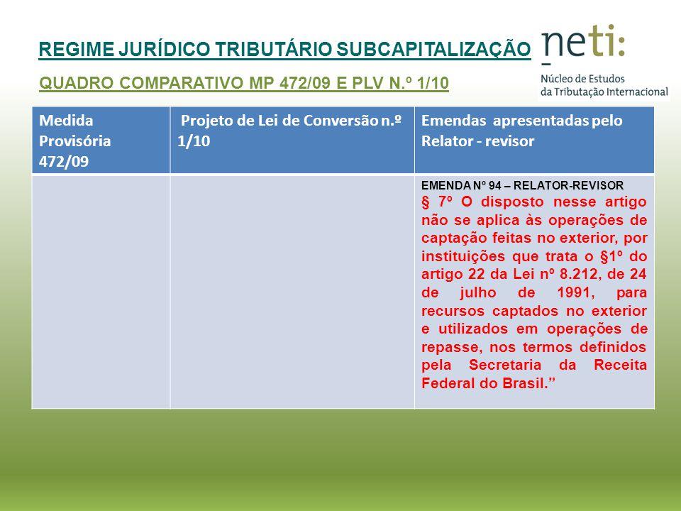REGIME JURÍDICO TRIBUTÁRIO SUBCAPITALIZAÇÃO