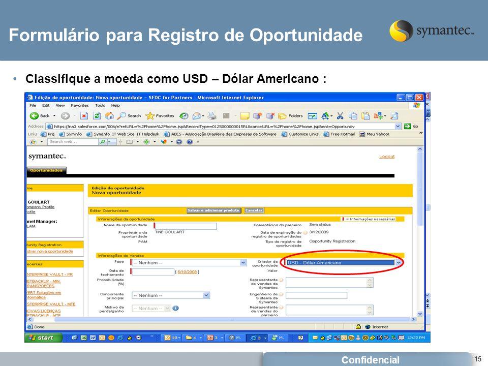 Formulário para Registro de Oportunidade