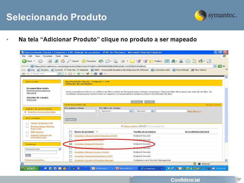 Selecionando Produto Na tela Adicionar Produto clique no produto a ser mapeado.