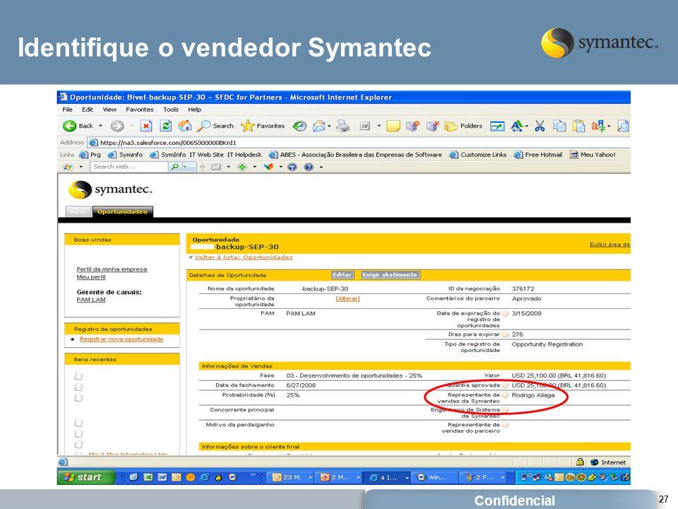 Identifique o vendedor Symantec