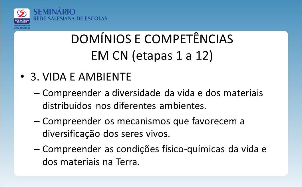 DOMÍNIOS E COMPETÊNCIAS EM CN (etapas 1 a 12)