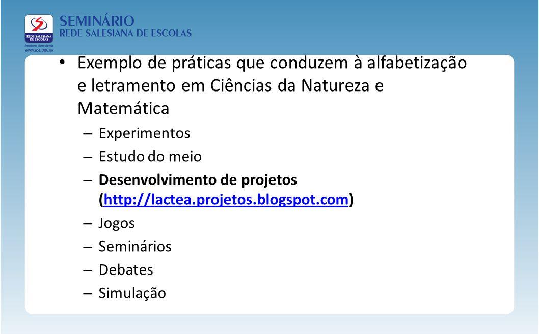 Exemplo de práticas que conduzem à alfabetização e letramento em Ciências da Natureza e Matemática