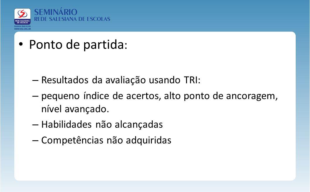 Ponto de partida: Resultados da avaliação usando TRI: