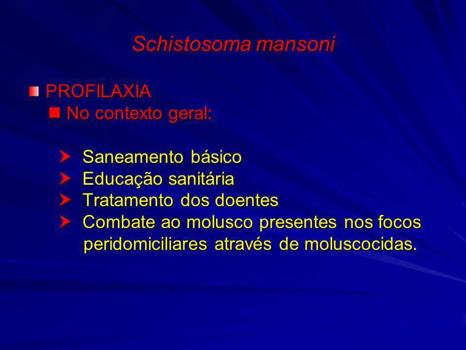 Schistosoma mansoni PROFILAXIA  No contexto geral: