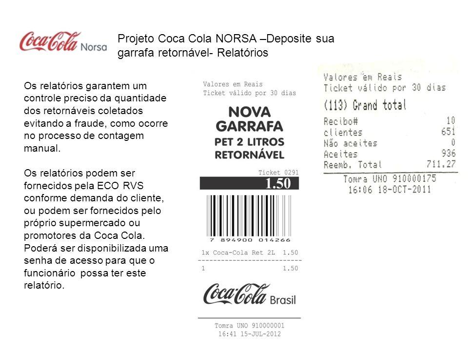 Projeto Coca Cola NORSA –Deposite sua garrafa retornável- Relatórios
