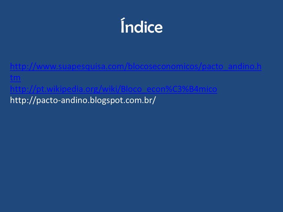 Índice http://www.suapesquisa.com/blocoseconomicos/pacto_andino.htm
