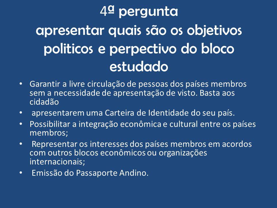 4ª pergunta apresentar quais são os objetivos politicos e perpectivo do bloco estudado