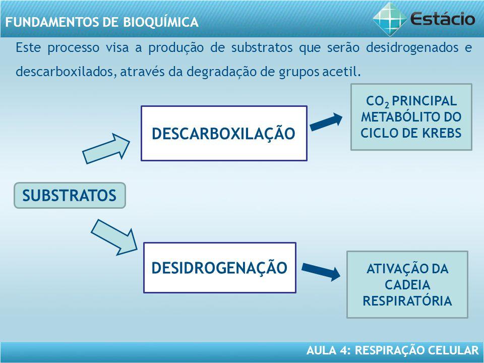 DESCARBOXILAÇÃO SUBSTRATOS DESIDROGENAÇÃO