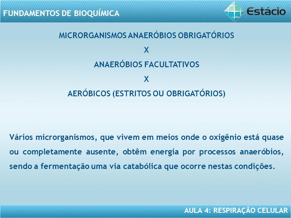 MICRORGANISMOS ANAERÓBIOS OBRIGATÓRIOS X ANAERÓBIOS FACULTATIVOS