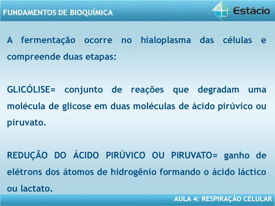A fermentação ocorre no hialoplasma das células e compreende duas etapas: