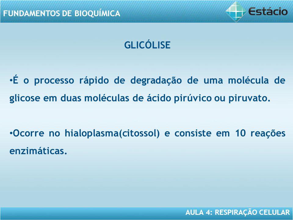 GLICÓLISE É o processo rápido de degradação de uma molécula de glicose em duas moléculas de ácido pirúvico ou piruvato.