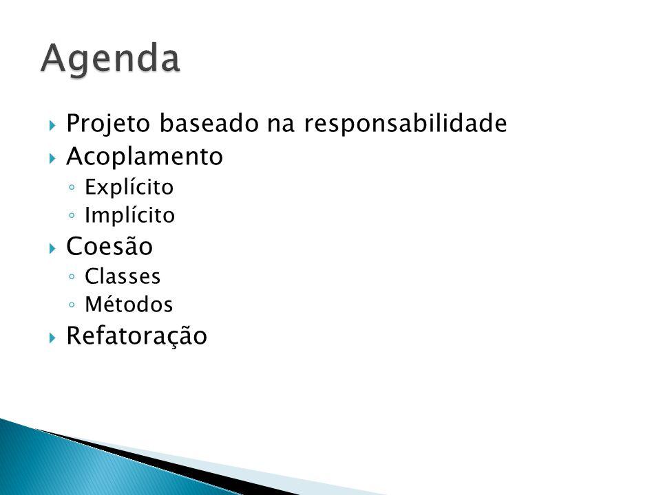 Agenda Projeto baseado na responsabilidade Acoplamento Coesão