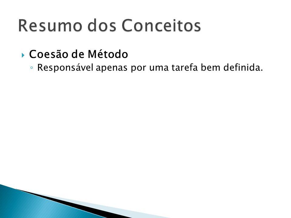 Resumo dos Conceitos Coesão de Método