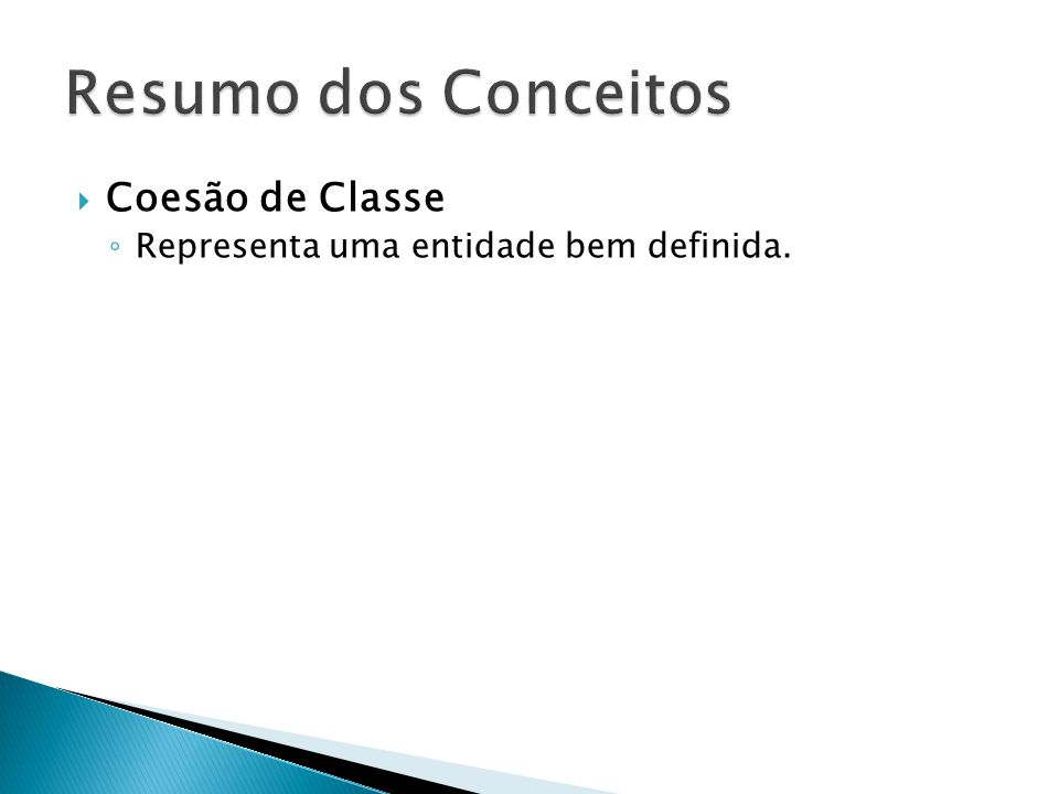 Resumo dos Conceitos Coesão de Classe