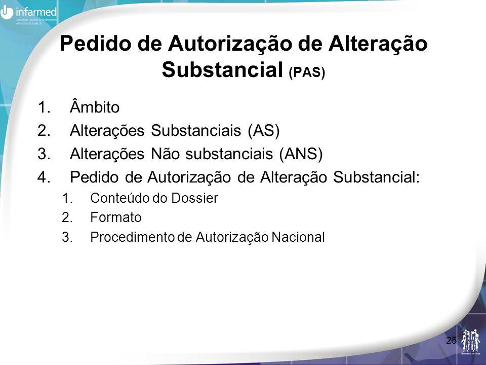 Pedido de Autorização de Alteração Substancial (PAS)
